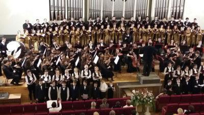 Лицеисты в большом сводном хоре